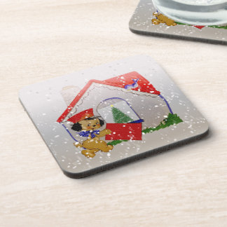 Old Fashioned Christmas Vintage Puppy Cartoon Drink Coaster