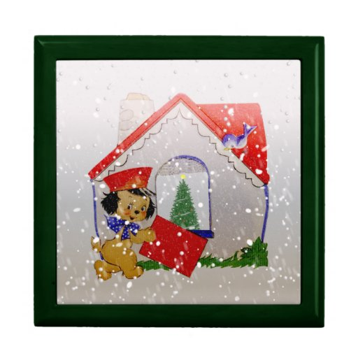Old fashioned christmas vintage puppy cartoon gift boxes