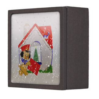 Old Fashioned Christmas Vintage Puppy Cartoon Jewelry Box