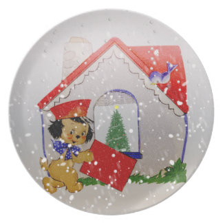 Old Fashioned Christmas Vintage Puppy Cartoon Melamine Plate