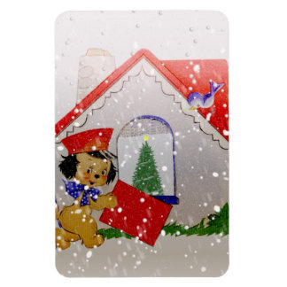 Old Fashioned Christmas Vintage Puppy Cartoon Rectangular Photo Magnet