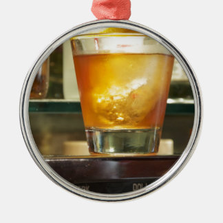 Old Fashioned Cocktail Series Round Metal Christmas Ornament