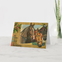 Old fashioned country Merry Christmas Holiday Card