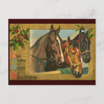 Old fashioned country Merry Christmas Holiday Postcard