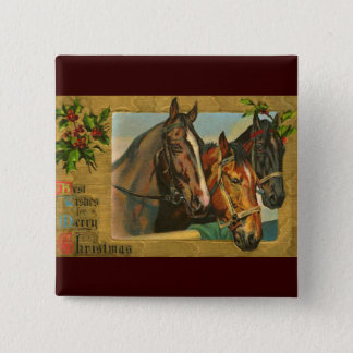 Old fashioned country Merry Christmas Pinback Button