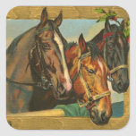 Old fashioned country Merry Christmas Square Stickers
