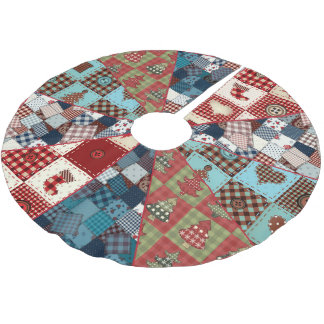 Old Fashioned Country Quilted Patterns Brushed Polyester Tree Skirt