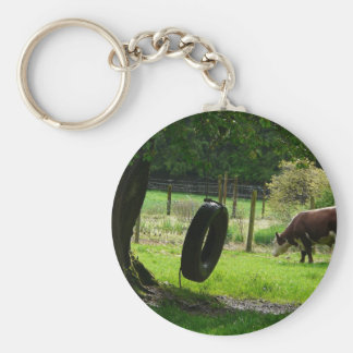 Old Fashioned Country Tire Swing Basic Round Button Keychain