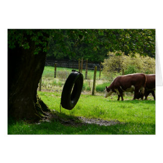 Old Fashioned Country Tire Swing Greeting Card
