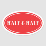 Old Fashioned Dairy Red Oval Label Half and Half Oval Sticker