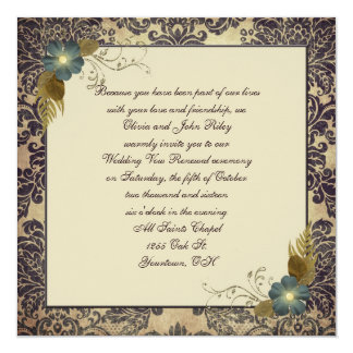 "Old-fashioned Damask 5.25"" Square Invitation Card"