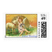 Old Fashioned Easter Blessings Stamp - Lamb, Angel
