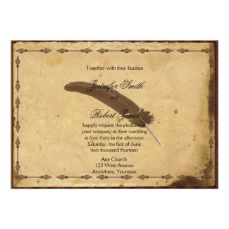 Old Fashioned Elegance Parchment Quill Wedding Custom Announcement