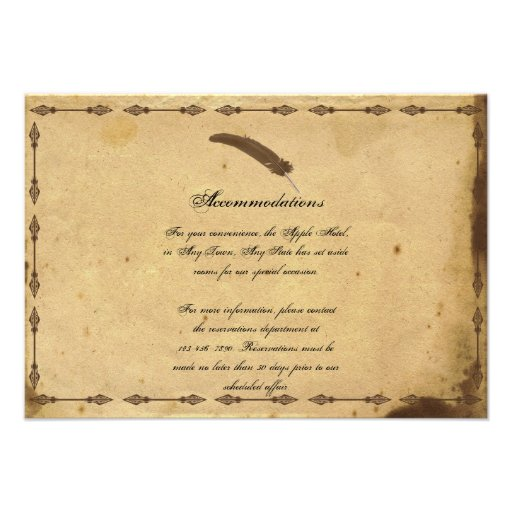 Old Fashioned Elegance Parchment Wedding Insert 35x5 Paper Invitation Card