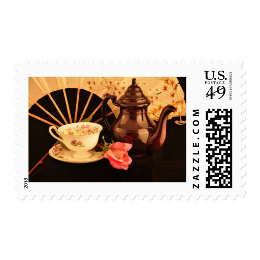 Old Fashioned Fan and Tea Cup Tea Time Stamp