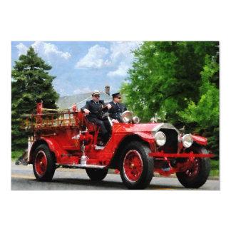 Old Fashioned Fire Truck 5x7 Paper Invitation Card