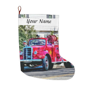 Old Fashioned Fire Truck Large Christmas Stocking