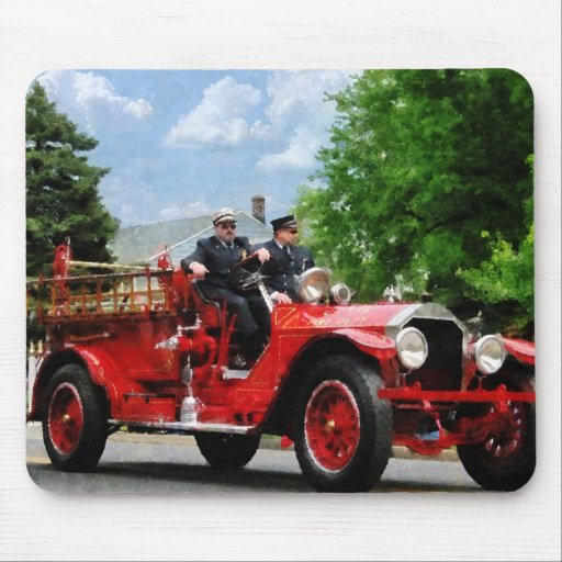 Old Fashioned Fire Truck Mouse Pad