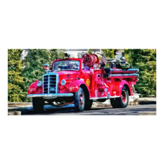 Old Fashioned Fire Truck Rack Card