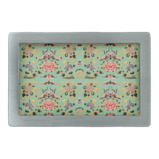 Old Fashioned Floral on Mint Rectangular Belt Buckle