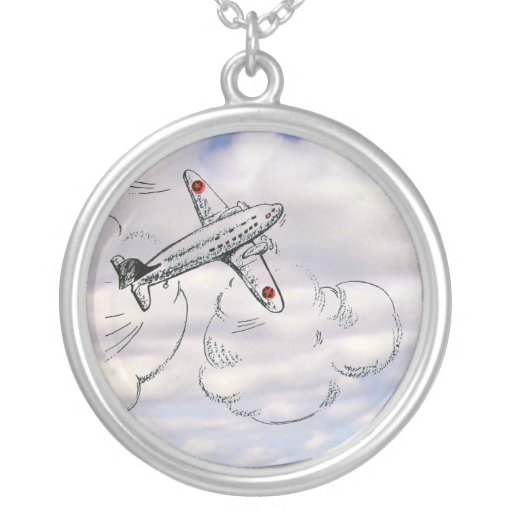 Old Fashioned Flying Airplane Drawing Cloudy Sky Round Pendant Necklace