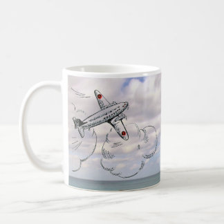Old Fashioned Flying Jet Airplane in Clouds Coffee Mug