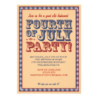 Old Fashioned Fourth of July Celebration Party Personalized Announcement