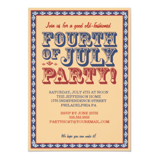 "Old Fashioned Fourth of July Celebration Party 5"" X 7"" Invitation Card"