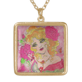 Old Fashioned Gal With Roses Necklace