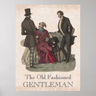 Old Fashioned Gentlemen Biedermeier Period Print