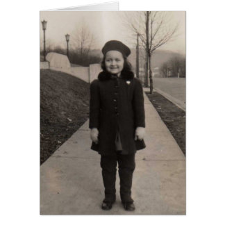 Old fashioned girl ready for school card
