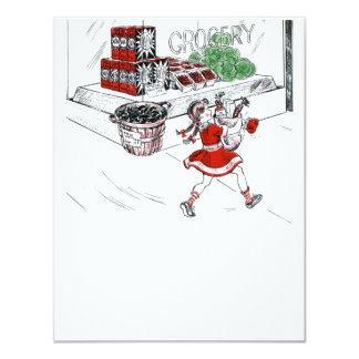 Old Fashioned Grocery Store and Little Girl 4.25x5.5 Paper Invitation Card