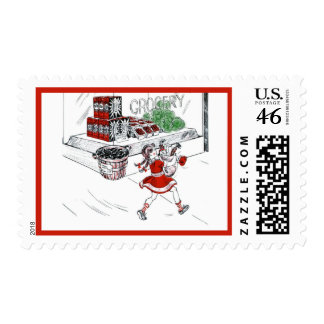 Old Fashioned Grocery Store and Little Girl Postage