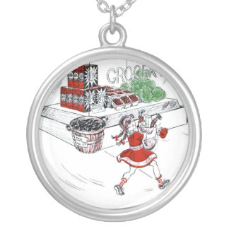 Old Fashioned Grocery Store and Little Girl Silver Plated Necklace
