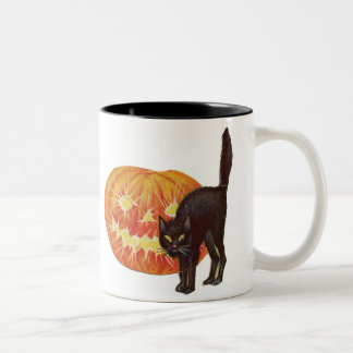 Old Fashioned Halloween Black Cat & Jack-O-Lantern Two-Tone Coffee Mug