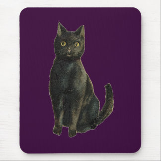 Old Fashioned Halloween Black Cat Mouse Pad