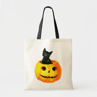 Old-fashioned Halloween, Black cat on Pumpkin Tote Bag