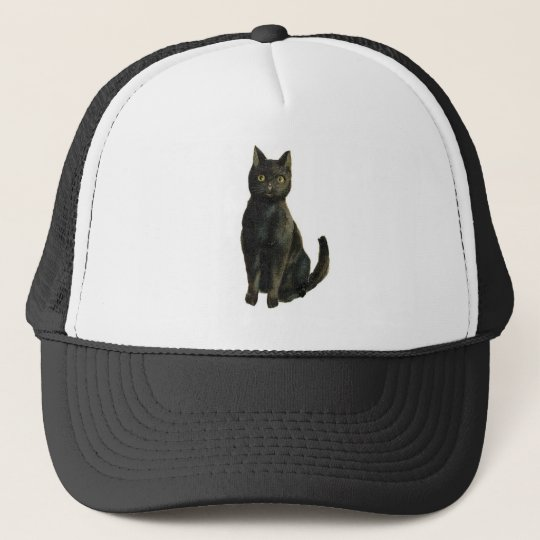 Old Fashioned Halloween Black Cat Trucker Hat