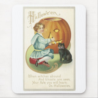 Old Fashioned Halloween Boy Carving Pumpkin Mouse Pad