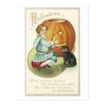 Old Fashioned Halloween Boy Carving Pumpkin Post Cards
