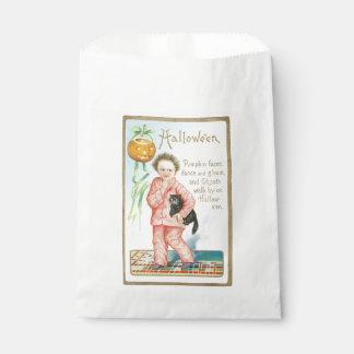 Old-fashioned Halloween, Boy holding Black cat Favor Bag