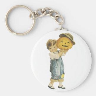 Old Fashioned Halloween Boy & Jack-O-Lantern Keychain