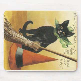 Old Fashioned Halloween Friendly Black Cat Mouse Pad