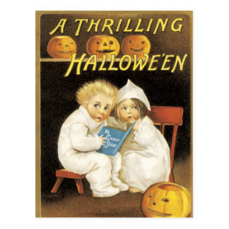 old fashioned halloween ghost story kids postcard - Old Fashion Halloween