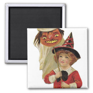 Old Fashioned Halloween Girl 2 Inch Square Magnet