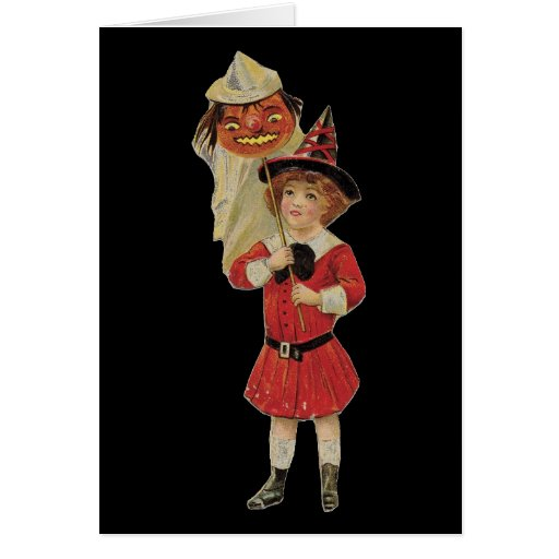 Old Fashioned Halloween Girl Greeting Card