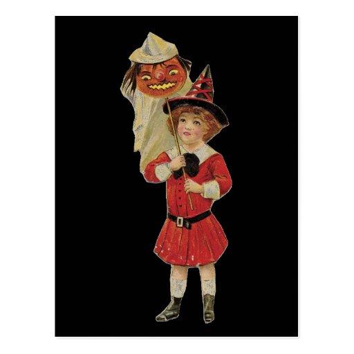 Old Fashioned Halloween Girl Postcard