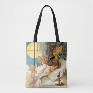 Old-fashioned Halloween, Girl with Fairies Tote Bag
