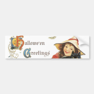 Old Fashioned Halloween Greetings Bumper Sticker