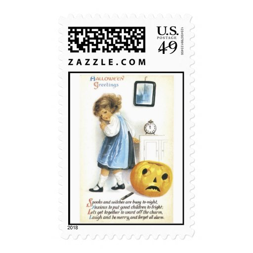 Old Fashioned Halloween Greetings Postage Stamp